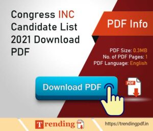 Tamil Nadu Congress Candidate List 2021 Download PDF