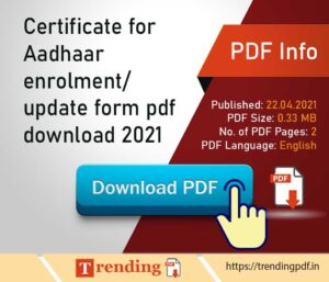 Download Aadhaar enrolment correction update form 2021 PDF