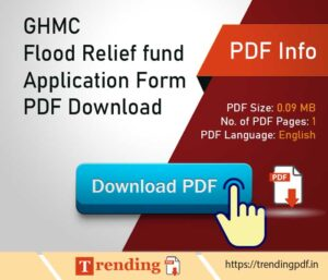 Greater Hyderabad Municipal Corporation Flood Relief fund Application Form PDF Download