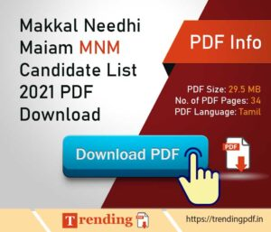 Makkal Needhi Maiam MNM Candidate List 2021 PDF Download in Tamil