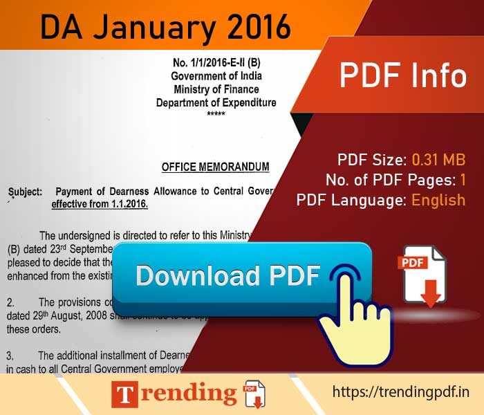 DA Order January 2016 PDF Download for Central Government Employees
