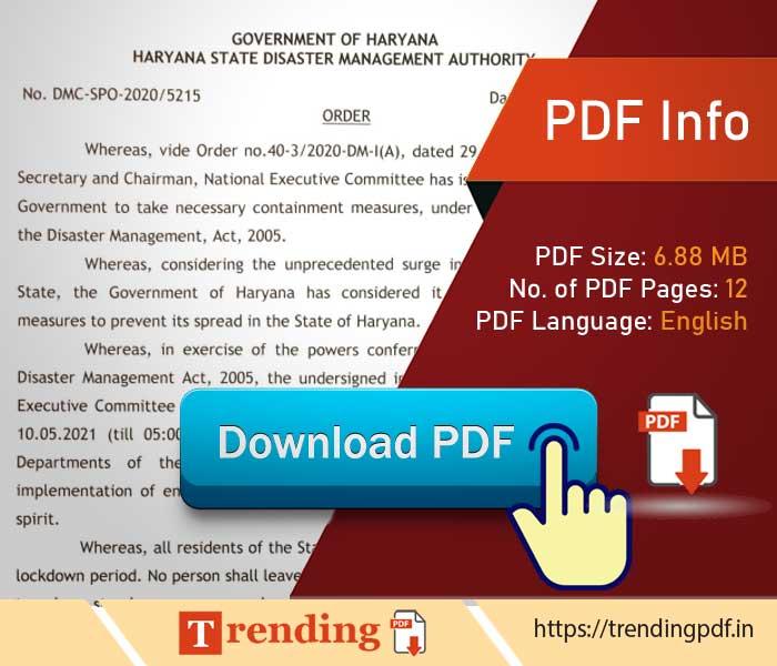 Download Haryana government covid lockdown order 2021 PDF