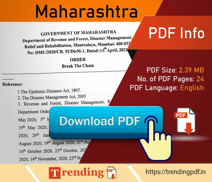 Download Maharashtra government covid lockdown order 2021 PDF