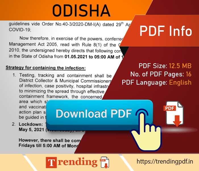 Download Odisha government covid lockdown order 2021 PDF