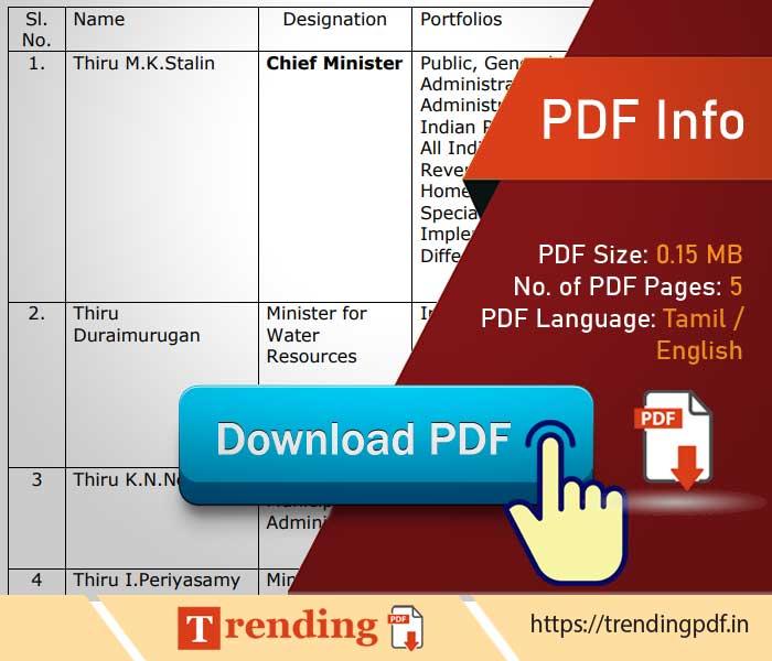 Download Tamil Nadu Ministers Name List 2021 in Tamil PDF. தமிழக அமைச்சர்கள் பட்டியல் வெளியீடு PDF