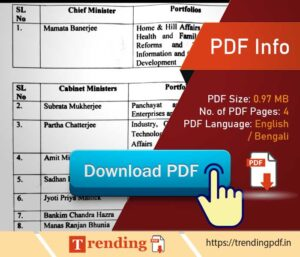 Download West Bengal Minister Name List 2021 PDF