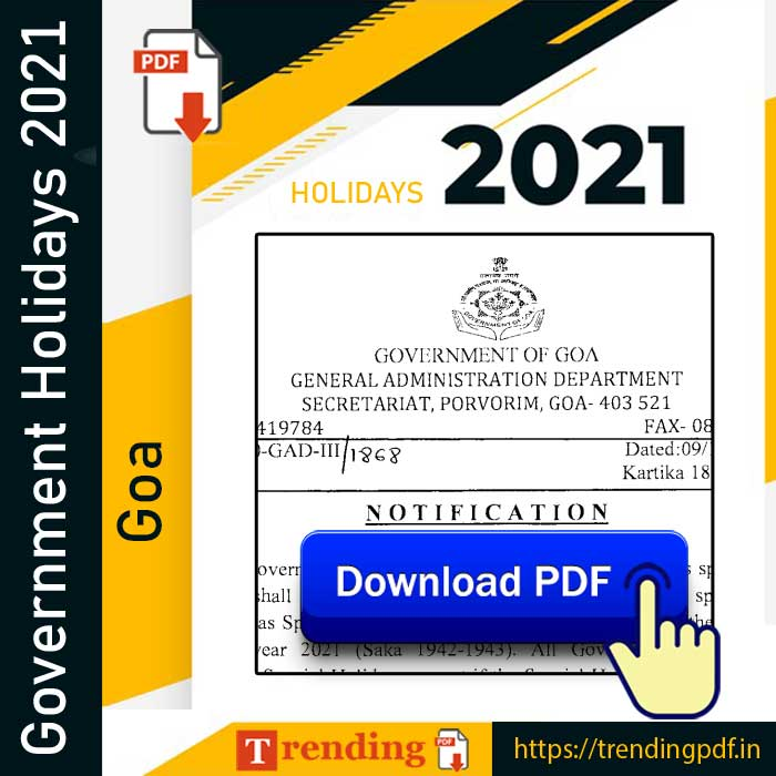 Goa Government Holiday List 2021 PDF Download