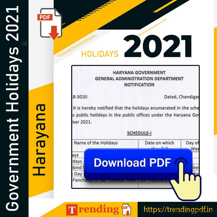 Haryana Government Holiday List 2021 PDF Download