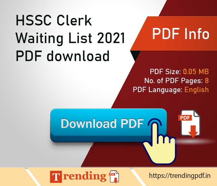 Haryana Staff Selection Commission Clerk Waiting List 2021 PDF download