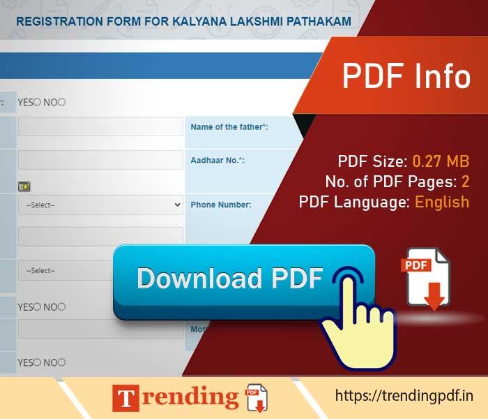 Kalyan Lakshmi Marriage Latest Application Form PDF Download