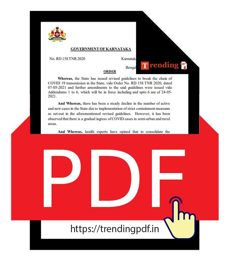 Karnataka Govt order lockdown extension until June 7, 2021 PDF Download