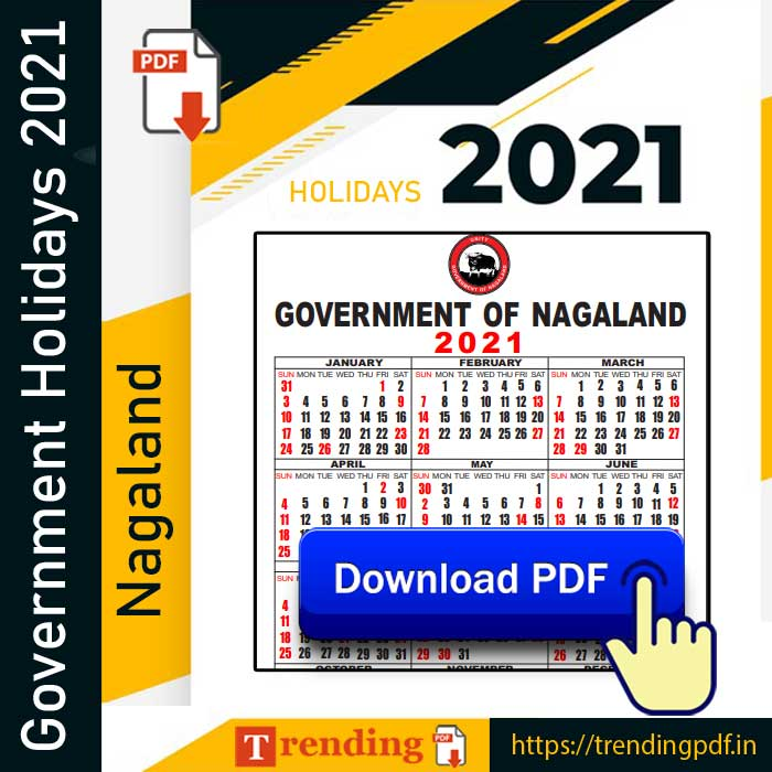 Nagaland Government Holiday List 2021 PDF Download