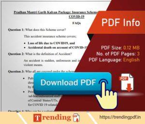 Pradhan Mantri Garib Kalyan Package Covid insurance scheme FAQ PDF