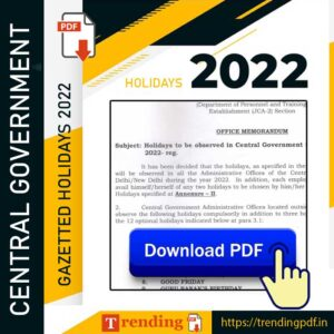 Central Government Gazetted Holidays 2022 PDF Download
