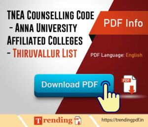 TNEA Counselling Code - Anna University Affiliated Colleges - Thiruvallur List PDF Download