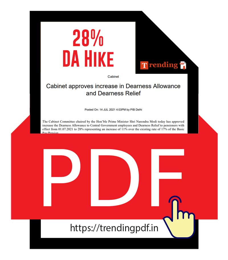 Cabinet approved the increase in DA and DR for Central Government Employees 2021 PDF download