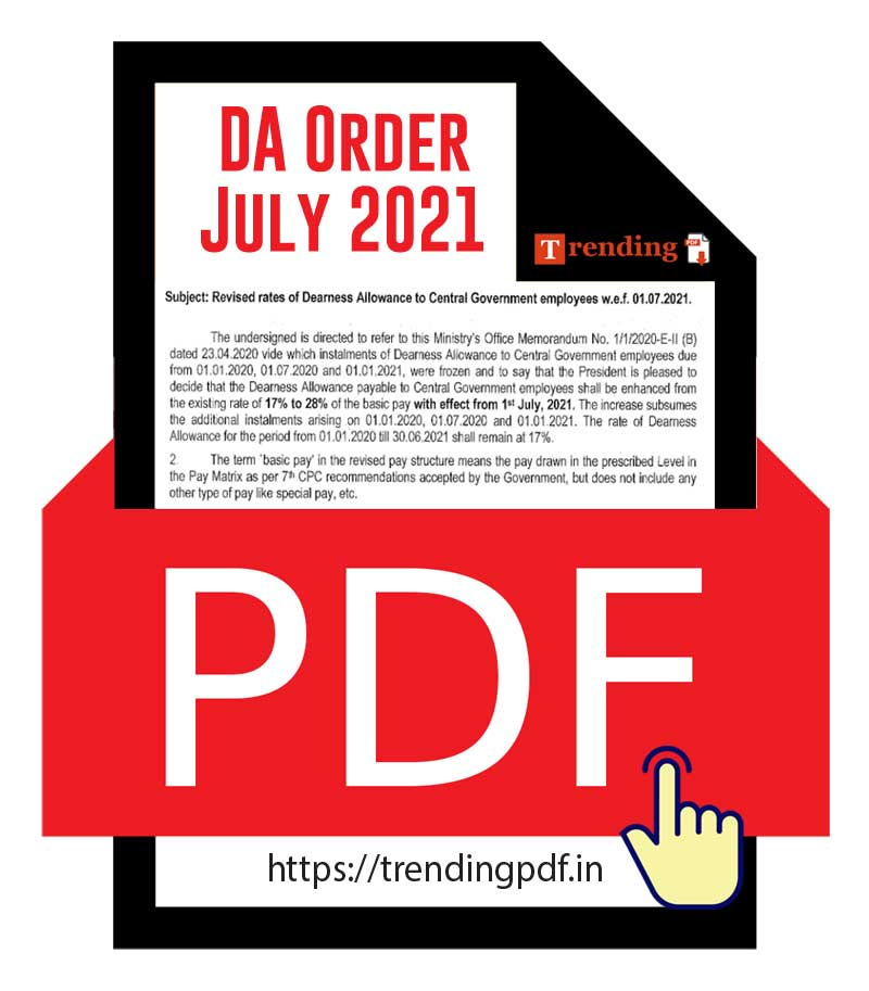 DA to Central Govt Employees from July 2021 - FinMin Order PDF Download
