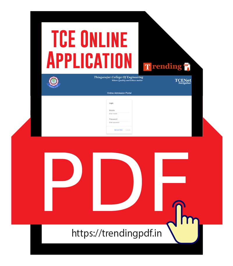 TCE Online Application Form for BE, B.Tech Admissions 2021-2022 on Merit Basis for State Board students