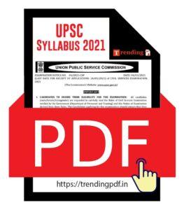 UPSC Syllabus 2021 PDF Download