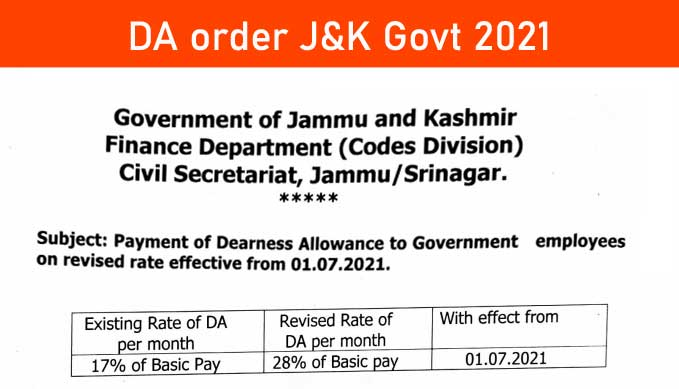 Payment of Dearness Allowance to J&K Government employees on revised rate effective from 01.07.2021 PDF Download